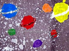 Crafts~N~Things for Children: Moon and Planets Paintings from a preschooler