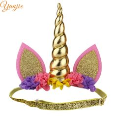 Girls Glitter Metallic Unicorn Headband For Kids 2017 DIY Unicorn Horn Headband Unicorn Party Unicorn Ears Hair Accessories