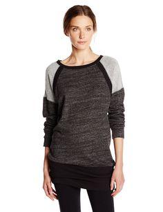 Calvin Klein Performance Women's Rib Trim Oversized Tunic Sweatshirt, Onyx Heather, X-Large. Long-sleeve tunic featuring reverse-knit panels at Raglan sleeves and ribbed trim.