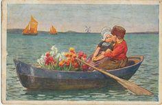 Volendammer bootje bloemen 1925