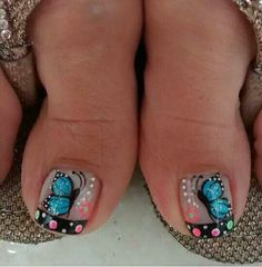 Manicure, Pedicure Nails, Toe Nail Art, Toe Nails, Cute Pedicure Designs, Butterfly Makeup, Cute Pedicures, The Art Of Nails, Elegant Nail Art