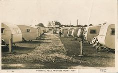 Caravans at Primrose Valley Filey in the Caravan Sites, Vintage Caravans, Mobile Homes, Vintage Postcards, Blue Bird, Campers, Yorkshire, Touring, Trailers
