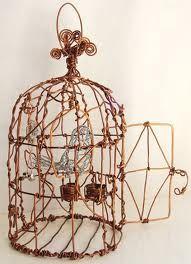 wire birdhouse sculpture
