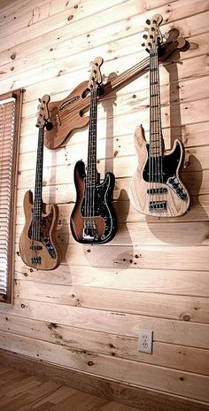 Hang multiple guitars with style! using your wall axe multi guitar hanger, home decor, Wall Axe Guitar Hanger Peabody CSS from solid oak Guitar Storage, Guitar Display, Guitar Rack, Guitar Hanger, Guitar Stand, Cool Guitar, Guitar Wall Holder, Guitar Shelf, Music Guitar
