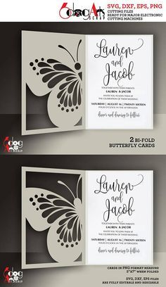 2 Butterfly Lace Card Templates Digital Cut SVG DXF Files