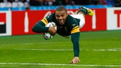 Bryan Habana of South Africa goes over to score their third try during the 2015 Rugby World Cup Pool B match between South Africa and USA at the Olympic Stadium on October 2015 in London, United Kingdom. Rugby Pictures, Australian Football, Rugby World Cup, Olympics, South Africa, All About Time, Soccer, Sports, October 7