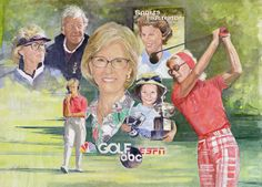 Walt Spitzmiller - Judy Rankin 2015 Ambassador of Golf Award Original Oil on canvas Golf Art, Caricatures, Oil On Canvas, Portraits, Baseball Cards, The Originals, Painting, Head Shots, Painting Art