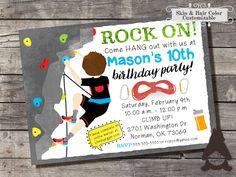 Climbing Wall Invitation, Rock Climbing Invitation, Rock Wall Climbing Party, Climbing Party, Printable Invitation for Boys Birthday Party by RockCreekPaperCo on Etsy