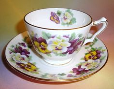 Crown Staffordshire Pansy Tea Cup and Saucer Set