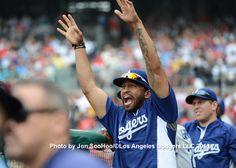 Matt Kemp cheers from the dugout