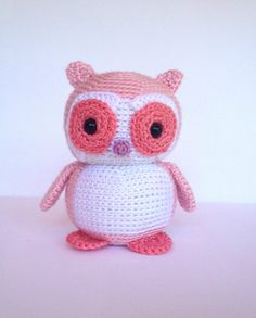 Crochet Owl Doll Amigurumi Stuffed Animal Toy in Pink- YouHadMeAtCrochet