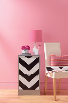 Devine Paint Color : Blossom - it is possible to paint a wall pink and not make the room look like a nursery or a room for a little girl/tween/teen