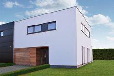 Moderne woning in houtskeletbouw, gevel in witte crepi en garagepoort in cederhout, plat dak, strakke kubus, halfopen bebouwing  Dewaele Houtskeletbouw