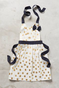 Anthropologie Gold Polka Dotted Kid' s Apron