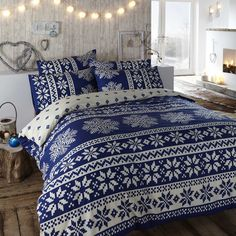 Perfect for a snuggle this Scandanavian inspired Blue Duvet set available now at great prices - My New Winter Duvet set!