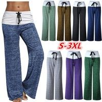 Wish | Women Fashion Foldover Heather Wide Leg Casual Yoga Pants Bottom sexy  long trousers