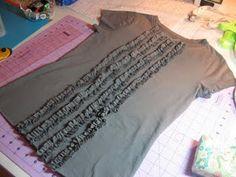 How to make a ruffle shirt http://www.littlepinkmonster.com/2009/10/09/some-ruffly-fun/