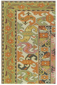 Pattern No.0578-1 Big Rugs, Dot Art Painting, Animal Design, Kilim Rugs, Rugs On Carpet, Needlepoint, Cross Stitch Patterns, Needlework, Bohemian Rug