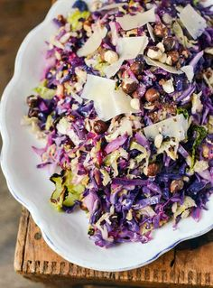 Roasted cabbage slaw with hazelnuts and lemon - Vegan, sub agave for honey