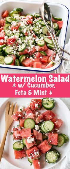 Refreshing, sweet, and crowd-pleasing Watermelon Salad with Cucumber, Feta and Mint. Enjoyed by kids and adults alike with 6 simple ingredients, this 10 minute salad is not to be missed! #ad #salad #watermelon