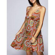 Stylish V-Neck Printing Miniskirt For Woman, COLORMIX, S in Dresses 2017 | DressLily.com