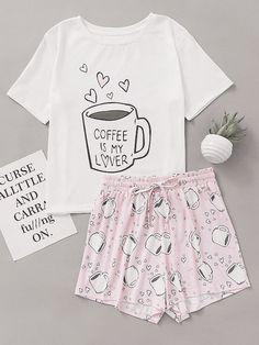 Tendance salopette 2017  Cups Print Top With Drawstring Waist Shorts Pajama Set #Clothing#Dresses#Tops#Te
