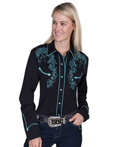 Scully Women's Black & Turquoise Horse Embroidered Retro Western Shirt