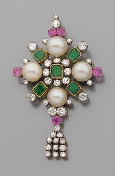 A 19th century diamond, emerald, ruby, cultured pearl, 18K gold and silver brooch/pendant.