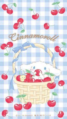 Cinnamoroll and cherries Sanrio Wallpaper, Soft Wallpaper, Hello Kitty Wallpaper, Kawaii Wallpaper, Wallpaper Iphone Cute, Aesthetic Iphone Wallpaper, Kawaii Art, Kawaii Anime, Sanrio Danshi