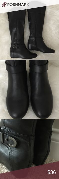 EUC Nine West Knee High Low Wedge Boots Excellent conduction! Only worn a couple of times. Very cute & comfy black boots by Nine West.  Features a Low Wedge, an inside zipper for easy on/off & a slit in the back of the knee making it extra easy to wear while walking 😍.  Love these! Just need to clean out my closet ☺️ Nine West Shoes Winter & Rain Boots