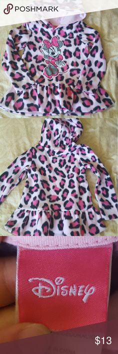 Girls Minie Mouse pink hoodie Used pink leopard print minie mouse hoodie in the size 5 Disney Jackets & Coats