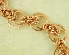 Bronze Chainmaille Bracelet Kit - Intermediate Staggered Byzantine Weave - Unique Style. $40.00, via Etsy.