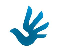 """The Selected Human Rights Logo.. The """"free as a man"""" design, based upon a human hand and a bird in flight, was created by Serbian designer Predrag Stakić."""