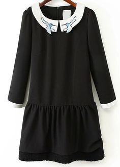 Black Contrast Collar Embroidered Dress - abaday.com