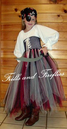 Lady Pirate Tutu Costume...with 2 Color Choices by Frills and Fireflies, $67.00