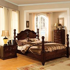 Furniture of America Weston Traditional Style Glossy Dark Pine Four Poster Bed Queen Furniture Of America, Upholstered Platform Bed, Furniture, Bed Frame Sets, Four Poster, Bedroom Posters, Home Decor, Four Poster Bed, Bedroom Furniture