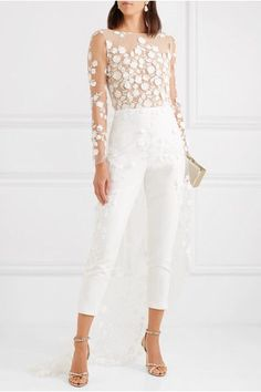 Rime Arodaky – Patsy lace-trimmed embroidered tulle and crepe jumpsuit Rime Arodaky Sequin Jumpsuit, White Jumpsuit, Formal Jumpsuit, Sequin Dress, Rehearsal Dinner Outfits, Wedding Rehearsal, Rime Arodaky, Wedding Jumpsuit, White Pantsuit Wedding
