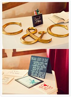Guest book table instructions.  Beautiful bright colors in this wedding too!