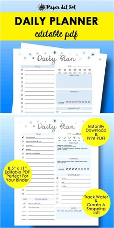 Printable daily planner. This is a good idea because I'm terrible at staying on track of my to do list! I love that it has a water tracker too! That's something I'm trying to work on. #ad #planner #tracker