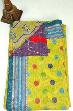 handmade polka dot reversibal kantha bedspread by maharaniarts, $99.00