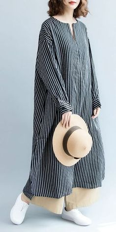 Fashion casual striped linen shirt women long blouse for autumn loose pure color linen maxi dresses women summer casual outfits Trendy Dresses, Nice Dresses, Casual Dresses, Casual Outfits, Casual Shirts, Fashion Casual, Boho Fashion, Trendy Fashion, Womens Fashion