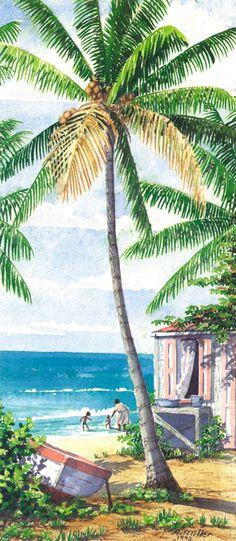 Sea Bathing by Anne Miller, x watercolour print Watercolor Print, Caribbean, Sea, Watercolours, Gallery, Bathing, Painting, Instagram, Frases