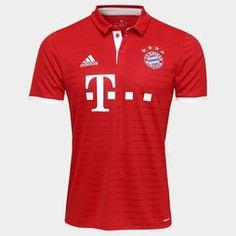 Camisa Adidas Bayern de Munique Home 16/17 s/nº - Vermelho+Branco
