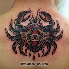 Crab Tattoo On Man Upper Back by Matt Houston Lobster Tattoo, Cancer Crab Tattoo, Cancer Tattoos, Body Art Tattoos, New Tattoos, Tatoos, Unbreakable Tattoo, Krebs Tattoo, American Style Tattoo