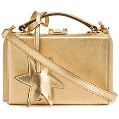 Mark Cross Saffiano Mini Grace Star Box - Gold featuring polyvore, women's fashion, bags, handbags, kirna zabete, top handles, gold purse, top handle bags, top handle handbags, chain strap purse and chain handle handbags