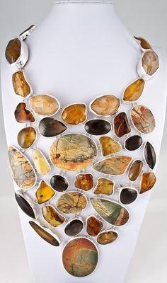Necklace | Charles Albert.  Red Creek Jasper, Smokey Quartz, Amber, Rutilated Quartz set in sterling silver.