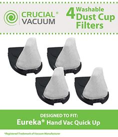 This is a High Quality Replacement 4-Pack #Quick Up Washable & Reusable Filter. Compare to #Eureka Dust Cup Vacuum Part # 39657. Fits Eureka Quick Up Vacuum Clean...