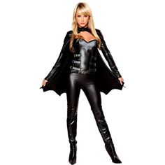 Women's Bat Warrior Deluxe Sexy Costume ($90) ❤ liked on Polyvore featuring costumes, halloween costumes, multicolor, sexy black costume, bat women costume, womens black widow costume, womens costumes and bat wing costume