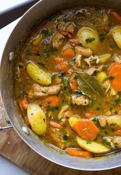 Hearty one-pot chicken stew practically cooks itself! It's made in one-pot with chicken and savory veggies. This chicken stew recipe is the best there is! Stew Chicken Recipe, One Pot Chicken, Chicken Recipes, Chicken Thigh Stew, Slow Cooker Chicken Stew, Veggie Stew Recipes, Chicken Vegetable Stew, Stewed Chicken, Chicken Soup With Potatoes