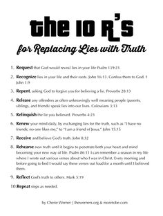 """These """"10 R's"""" will help you replace the lies you're tempted to believe with the Truth!  {FREE download}"""